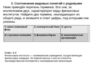 3. Соотнесение видовых понятий с родовыми Ответ: 3, 6 Финансовые институты —