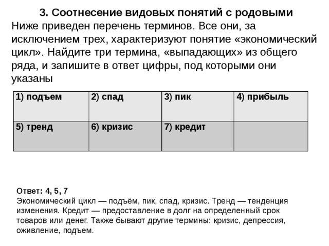 3. Соотнесение видовых понятий с родовыми Ответ: 4, 5, 7 Экономический цикл—...