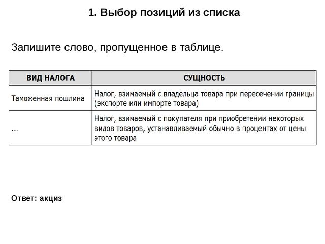 1. Выбор позиций из списка Ответ: акциз Запишите слово, пропущенное в таблице.