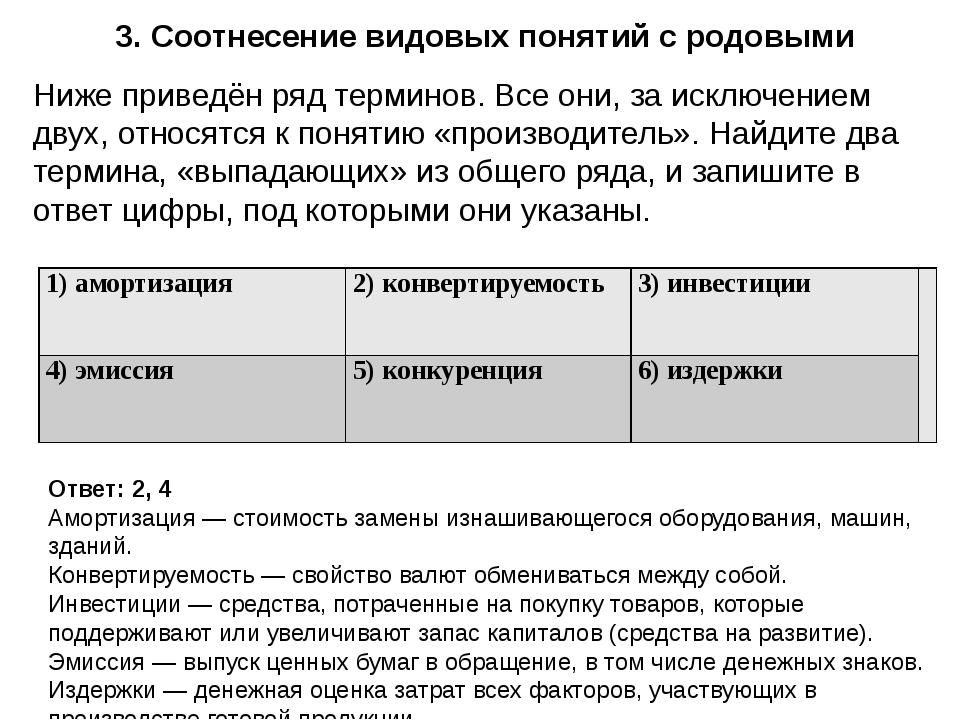 3. Соотнесение видовых понятий с родовыми Ответ: 2, 4 Амортизация — стоимость...