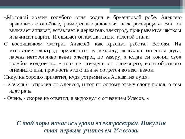 «Молодой хозяин голубого огня ходил в брезентовой робе. Алексею нравились спо...