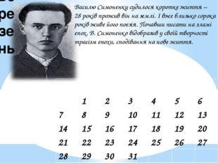 Василю Симоненку судилося коротке життя – 28 років прожив він на землі. І вже