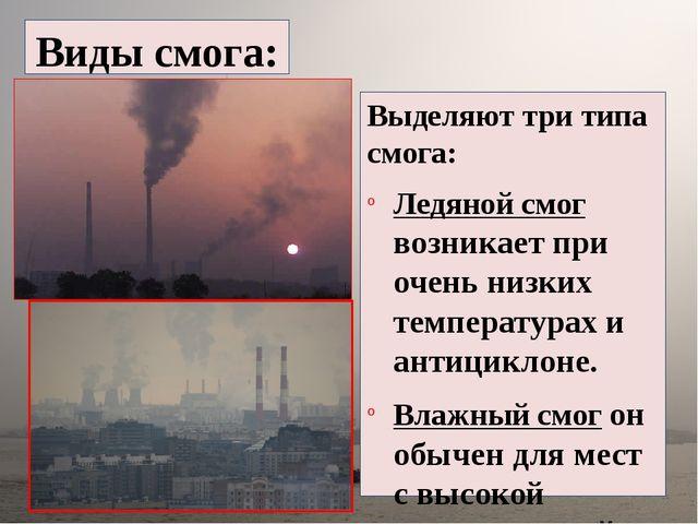 Виды смога: Выделяют три типа смога: Ледяной смог возникает при очень низки...