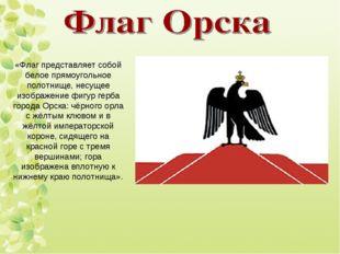 «Флаг представляет собой белое прямоугольное полотнище, несущее изображение ф