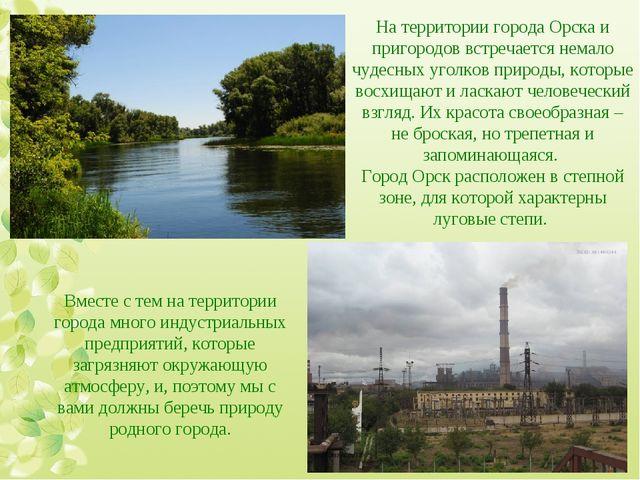 На территории города Орска и пригородов встречается немало чудесных уголков п...