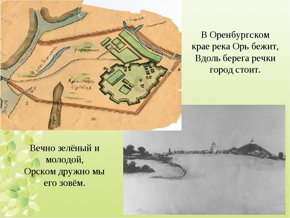 В Оренбургском крае река Орь бежит, Вдоль берега речки город стоит. Вечно зел...