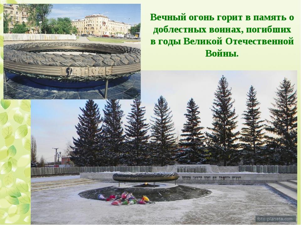 Вечный огонь горит в память о доблестных воинах, погибших в годы Великой Отеч...