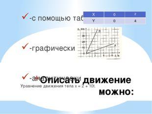 Описать движение можно: -с помощью таблиц -графически -аналитически Уравнение