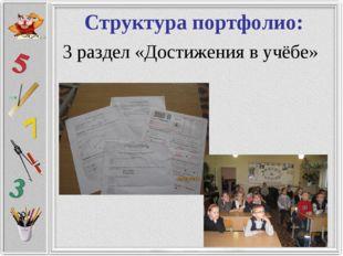 Структура портфолио: 3 раздел «Достижения в учёбе»