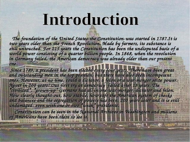 The foundation of the United States-the Constitution-was started in 1787.It...