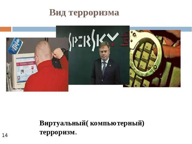 Вид терроризма Виртуальный( компьютерный) терроризм.