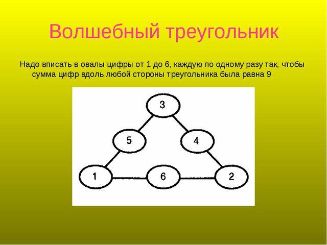 Волшебный треугольник Надо вписать в овалы цифры от 1 до 6, каждую по одному...