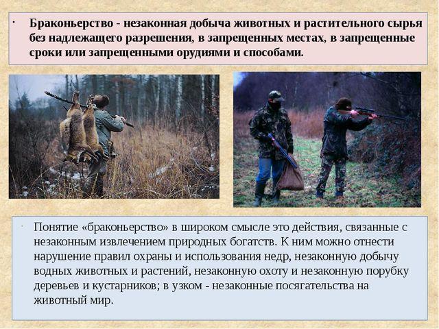 Браконьерство - незаконная добыча животных и растительного сырья без надлежащ...