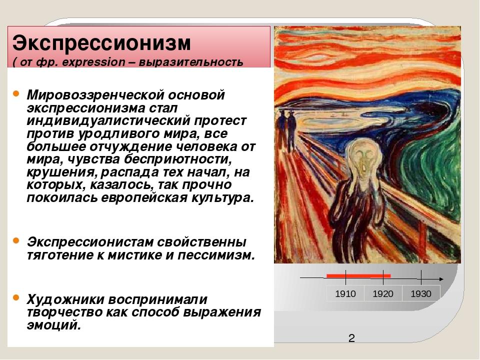 Экспрессионизм ( от фр. expression – выразительность Мировоззренческой основ...
