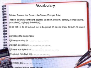 Vocabulary Britain, Russia, the Crown, the Tower, Europe, Asia, nation, count