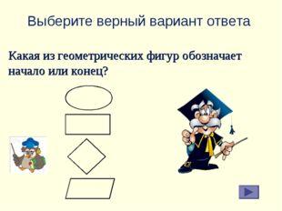 Выберите верный вариант ответа Какая из геометрических фигур обозначает начал