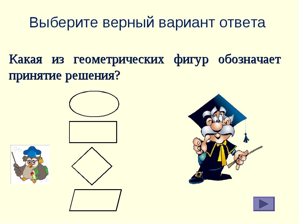 Выберите верный вариант ответа Какая из геометрических фигур обозначает приня...