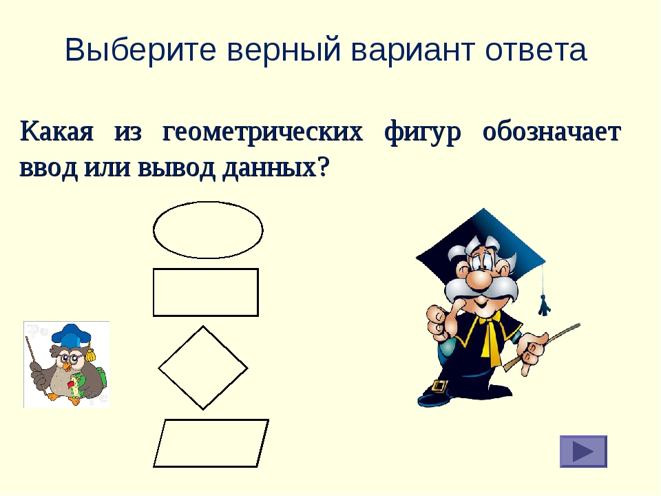 Выберите верный вариант ответа Какая из геометрических фигур обозначает ввод...