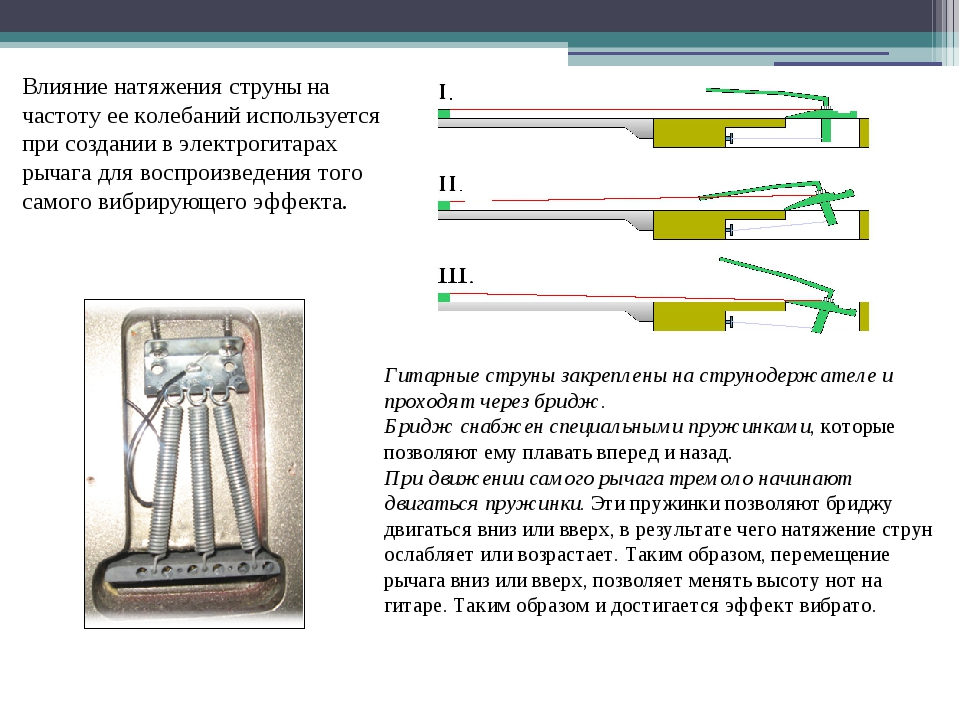 Влияние натяжения струны на частоту ее колебаний используется при создании в...