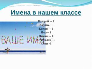Имена в нашем классе Валерий – 1 Карина– 1 Ксения – 1 Илья– 1 Никита – 1 Стан