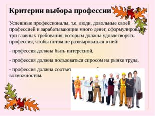 Критерии выбора профессии Успешные профессионалы, т.е. люди, довольные своей