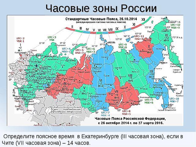 Часовые зоны России В какой часовой зоне расположен населенный пункт России,...
