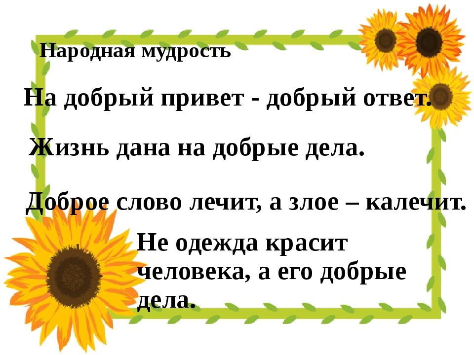 Народная мудрость Не одежда красит человека, а его добрые дела. На добрый пр...