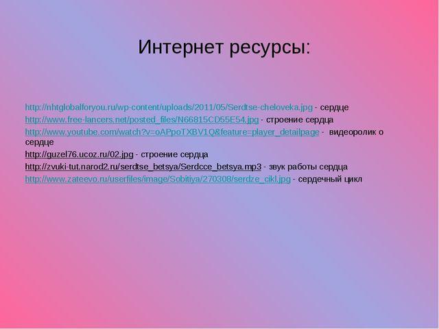 Интернет ресурсы: http://nhtglobalforyou.ru/wp-content/uploads/2011/05/Serdts...