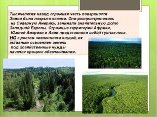 Тысячелетия назад огромная часть поверхности Земли была покрыта лесами. Они р