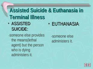Assisted Suicide & Euthanasia in Terminal Illness ASSISTED SUICIDE: -someone