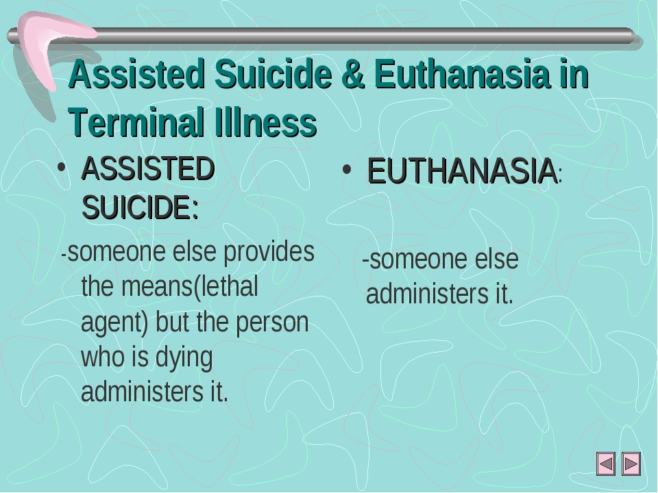 Assisted Suicide & Euthanasia in Terminal Illness ASSISTED SUICIDE: -someone...