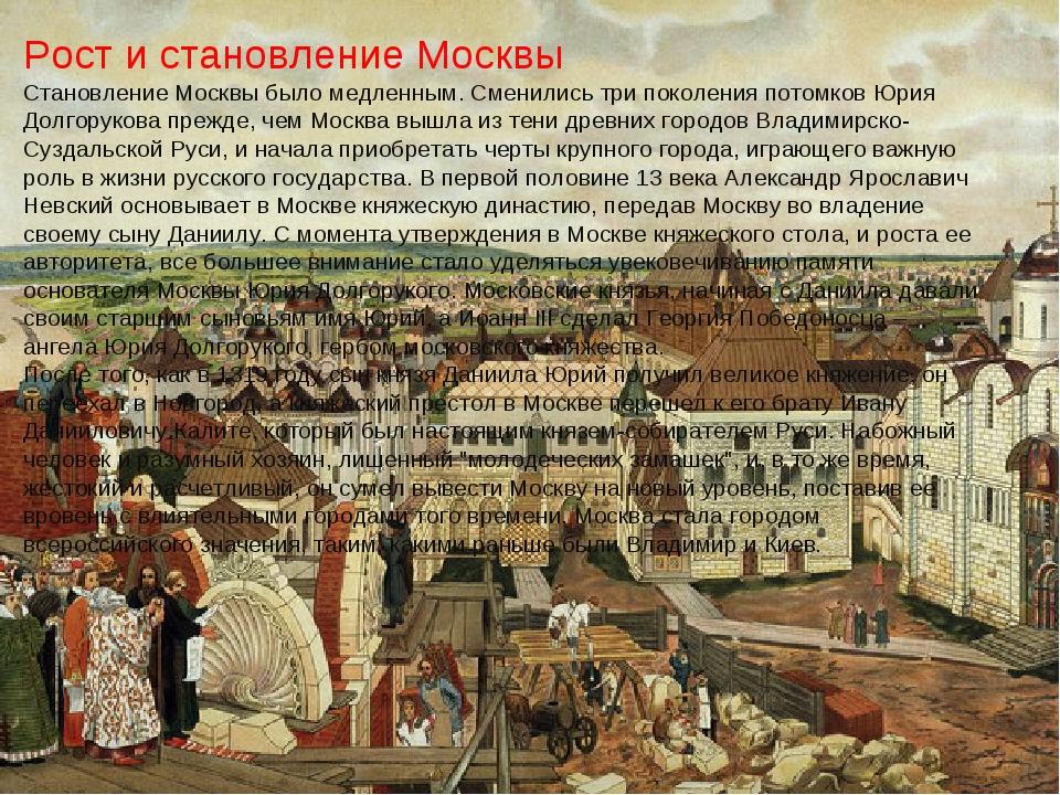 Рост и становление Москвы Становление Москвы было медленным. Сменились три по...