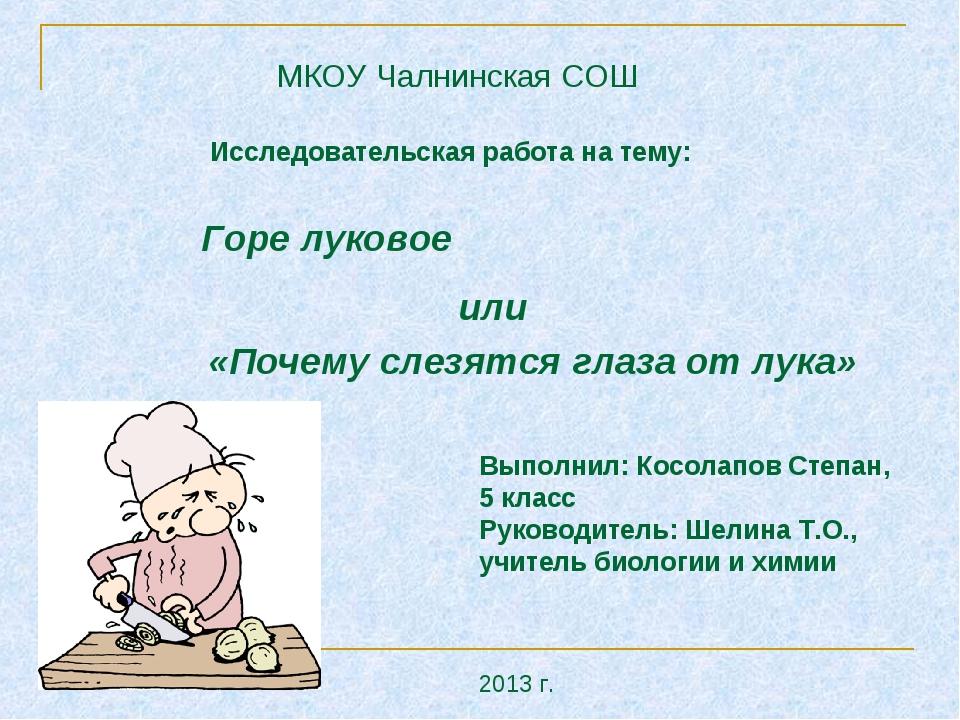 Горе луковое или «Почему слезятся глаза от лука» Выполнил: Косолапов Степан,...