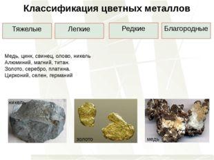 Классификация цветных металлов Тяжелые Легкие Редкие Благородные Медь, цинк,