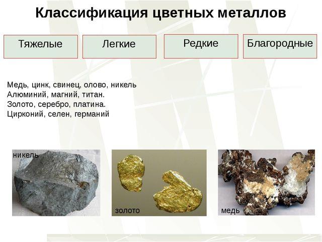 Классификация цветных металлов Тяжелые Легкие Редкие Благородные Медь, цинк,...