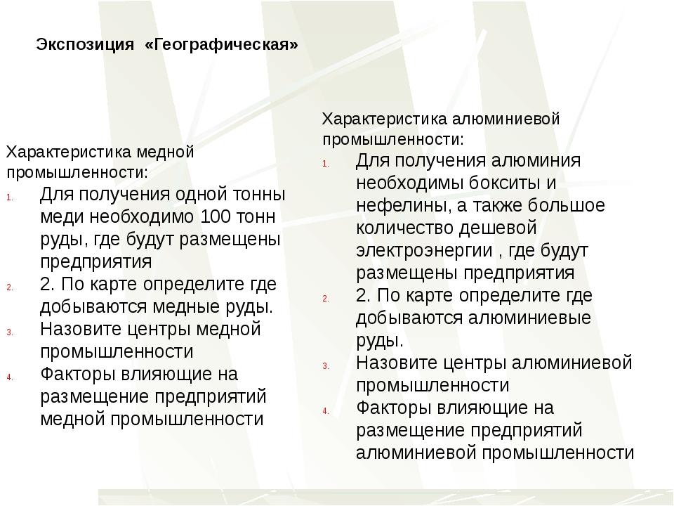 Экспозиция «Географическая» Характеристика медной промышленности: Для получен...
