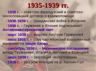 1935-1939 гг. 1935 г. – советско-французский и советско-чехословацкий договор