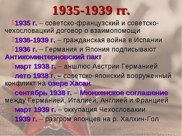 1935-1939 гг. 1935 г. – советско-французский и советско-чехословацкий договор...