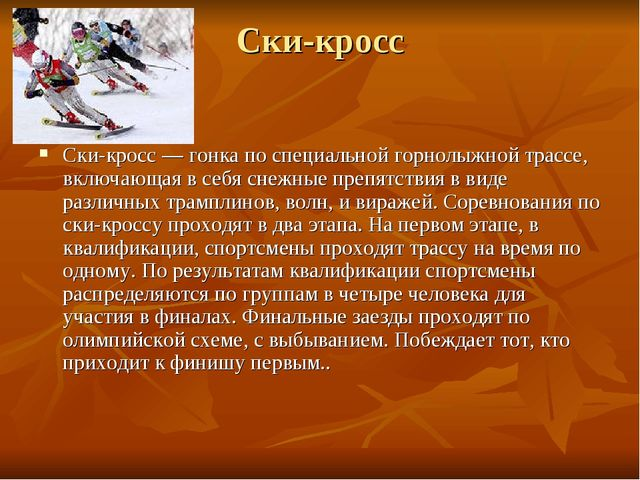 Ски-кросс Ски-кросс — гонка по специальной горнолыжной трассе, включающая в с...