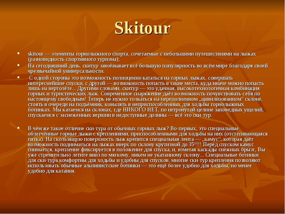 Skitour skitour — элементы горнолыжного спорта, сочетаемые с небольшими путеш...