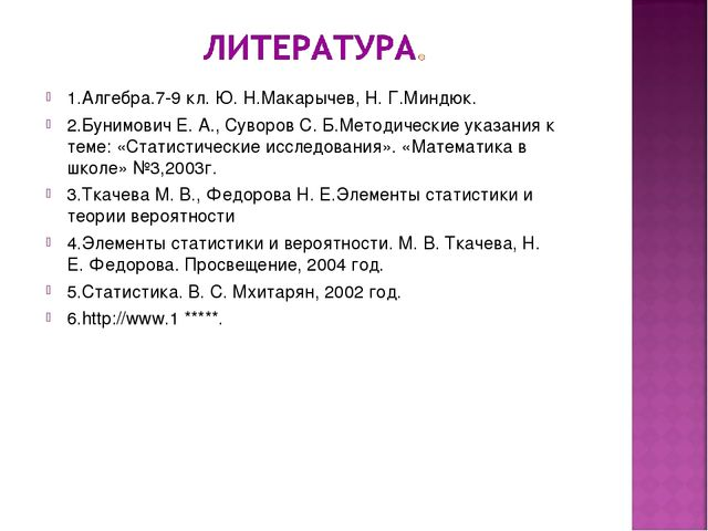 1.Алгебра.7-9 кл. Ю. Н.Макарычев, Н. Г.Миндюк. 2.Бунимович Е. А., Суворов С....