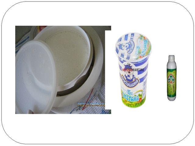 Теплое молоко, сметана (1ложка),закваска