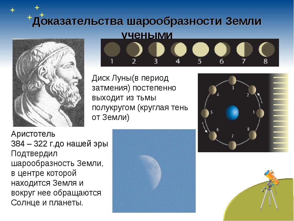 Доказательства шарообразности Земли учеными Аристотель 384 – 322 г.до нашей э...