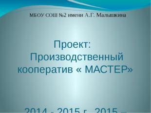 Проект: Производственный кооператив « МАСТЕР» 2014 - 2015 г., 2015 – 2016 г.