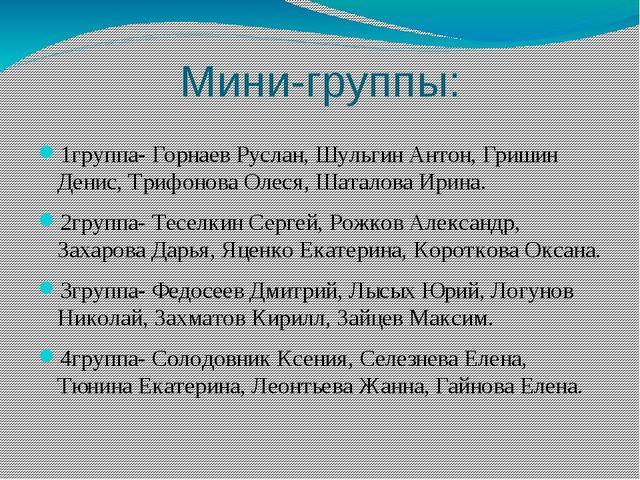 Мини-группы: 1группа- Горнаев Руслан, Шульгин Антон, Гришин Денис, Трифонова...