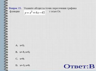 Вопрос 15. Укажите абсциссы точек пересечения графика функции  с осьюOx.
