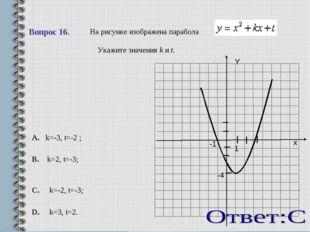 Вопрос 16.   На рисунке изображена парабола .  Укажите