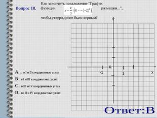 """Вопрос 18.   0 x -1 1 Y Как закончить предложение """"График функции размещен"""