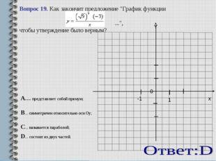 """Вопрос 19. Как закончит предложение """"График функции ..."""", чтобы утверждение"""