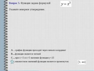Вопрос 5.Функция задана формулой . Укажите неверное утверждение. A…график ф